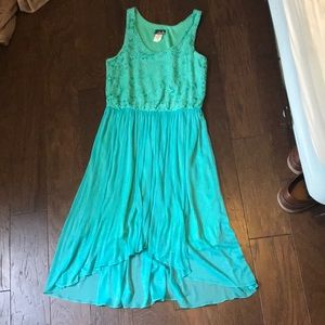 Aqua lace bodice dress